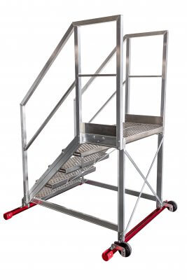 Maintenance walk-through ladders with handrails